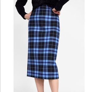 Zara plaid pencil skirt